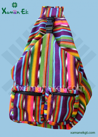 Guatemalan multicolor backpack handmade by xaman ek
