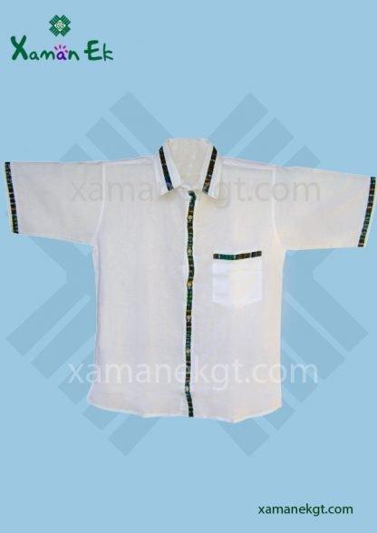 Guatemalan Shirt White color, handmade by Xaman Ek