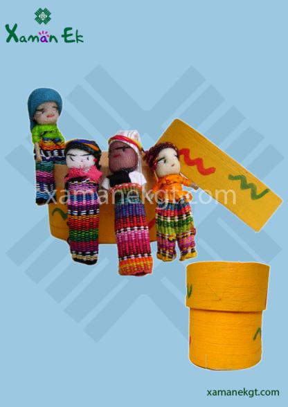 4 guatemalan worry dolls in a box handmade by real guatemalan artisans