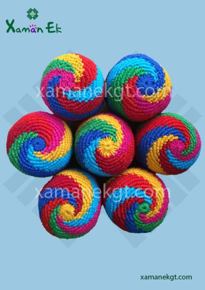 wholesale spiral hacky sacks handmade in Guatemala by Xaman Ek