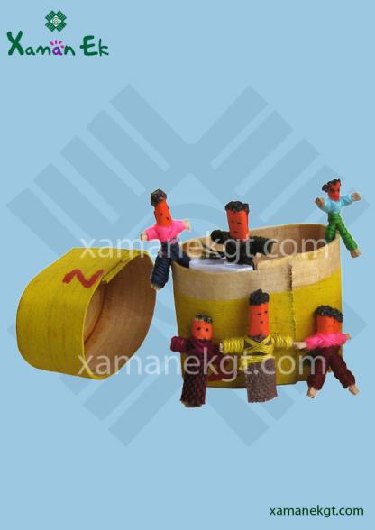 6 mini worry dolls handmade in Guatemala yellow boxes