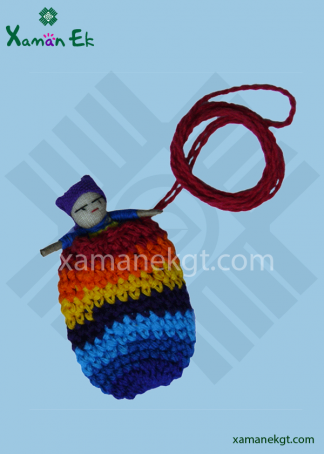 worry dolls in a crochet pouch