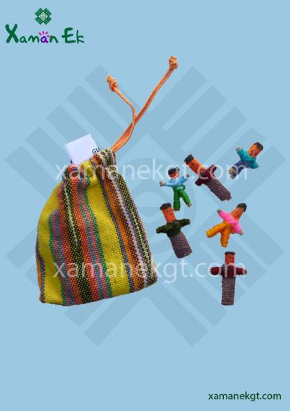 6 Mini Worry Dolls in pouch handmade in Guatemala