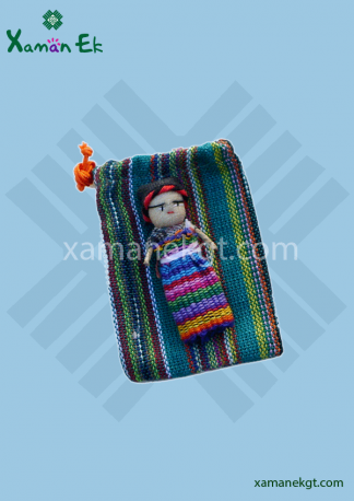 Guatemalan Worry dolls in pouch with 1 doll