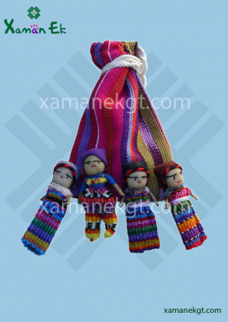 Worry Dolls in pouch with 4 dolls, handmade in Guatemala