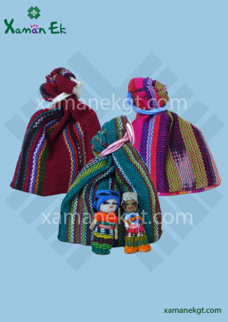 2 Worry Dolls in pouch handmade in Guatemala