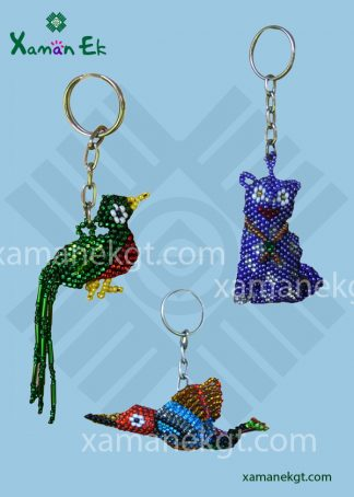 Glass beaded keyrings handmade in Guatemala by xaman ek