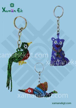 Glass beaded keyrings handmade in Guatemala by xaman ek