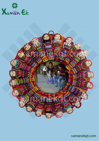 Mayan Worry Doll picture frame handmade in Guatemala by mayan artisans