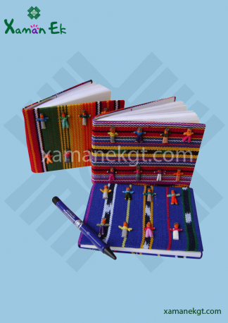Worry Dolls Textil Notebook large Handmade in Guatemala
