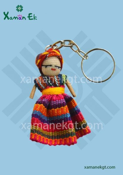 Worry doll keychain handmade in Guatemala by Xaman Ek
