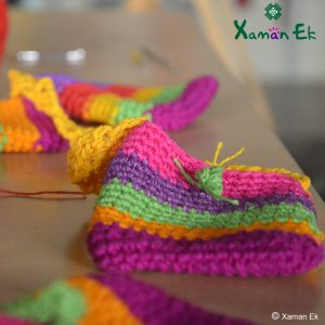 Multicolor crochet pouch handmade by xaman ek