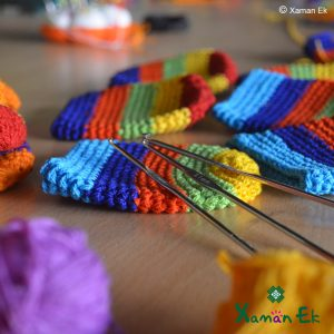 Multicolor crochet pouch by xaman ek